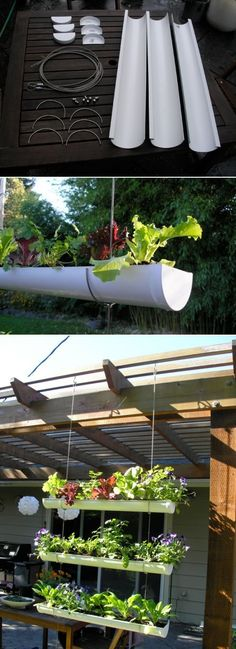 DIY Outdoor Vertical Garden DIY Hanging Gutter Garden;