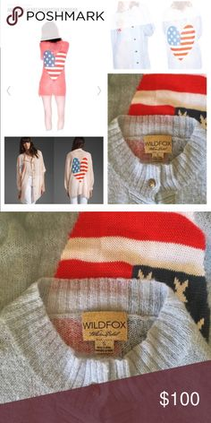 Wildfox Couture American Heart Manhattan Cardigan Excellent used condition. Like new used only twice. Oversized fit. Selling the light blue one. The blue is a beautiful bright light blue color. #AmericanFlag #Patriotic  Labor Day, Memorial Day, Presidents Day.  Offers accepted through offer button. Thank You Wildfox Couture Sweaters Cardigans