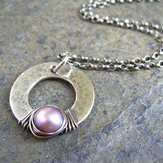 Pink Pearl Pendant Sterling Silver Hoop