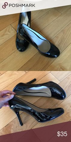Gorgeous Nine West black patent leather pumps Size 7 patent leather heels. Black gorgeous. Worn twice. Lovely condition!!!! Nine West Shoes Heels