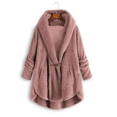 Teddy Bear V-Neck Sweater Coat 39.99 CAD Long Sleeve Sweater, Long Sleeve Tops, Polka Dot Cardigan, Casual Sweaters, Types Of Collars, Sweater Coats, Types Of Sleeves, Hooded Sweatshirts, Fall Winter