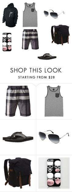 """""""Lex _Day 1"""" by logikitty on Polyvore featuring Burberry, RVCA, TOMS, Ray-Ban, Vagabond Traveler, NIKE, men's fashion and menswear"""