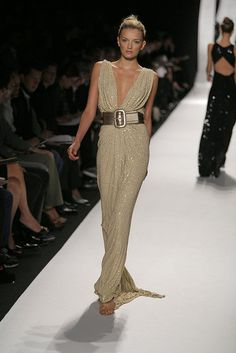For Spring '07, Michael Kors cinched full-length gowns with wide leather belts for a touch of casual glamour.