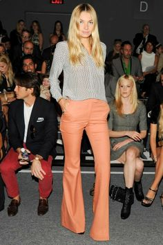 sherbet colored flares  a hint of print.