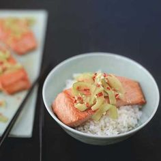 Salmon Rice Bowl with Ginger-Lime Sauce | Food & Wine