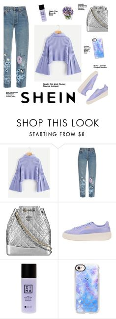 """Rib Knit Fluted Sleeve Jumper by Shein"" by stargazin-g ❤ liked on Polyvore featuring Bliss and Mischief, Chanel, Puma, 3ina, Casetify, Philippa Craddock, Winter, purple, Sheinside and shein"