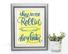 They see me rollin they hatin Kitchen by DrawnEastBoutique They See Me Rollin, Beautiful Lettering, Handmade Shop, Painting Prints, Frame, Kitchen, Instagram Posts, Etsy, Boutique
