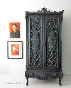 Large ornate armoire hand painted in charcoal Distressed Furniture Painting, Metal Furniture, Furniture Plans, Painted Furniture, Diy Furniture, Furniture Design, Refurbished Furniture, Repurposed Furniture, Victorian Furniture