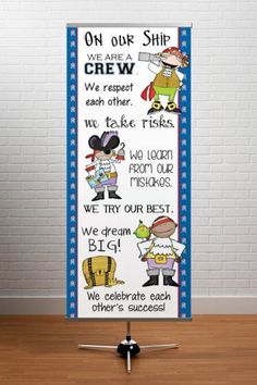 Pirate theme open house back to school powerpoint template pirate theme character education classroom banner large on our ship in our class toneelgroepblik Choice Image