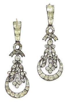 A pair of 19th century chrysoberyl chandelier earrings,