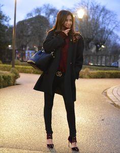 Black and Burgundy #ootd #streetstyle #winter #outfit #fashion #wiw #wiwt #syle #black #burberry #coat #jimmychoo #heels #velvet #shoes #lookbook #blogger #givenchy #antigona #bag #gucci #belt #mode #moda #burgundy #details