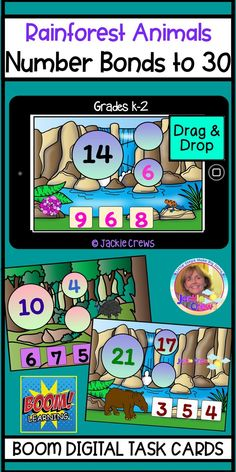 This 20 slide Boom Card deck is a resource that will ease your students into double-digit sums to 30. #Jackiecrews #numberbonds #primarymath #basicoperations #grade1math #grade2math #kindergartenmath #Boomcards #Englishlearners #rainforest Learning Resources, Teacher Resources, Classroom Resources, Deck Of Cards, Card Deck, Teaching Tips, Creative Teaching, Number Bonds, Elementary Teacher