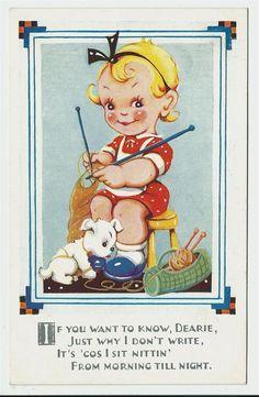 Vintage Children's Books, Vintage Cards, Vintage Postcards, Knitting Humor, Knitting Stitches, Vintage Knitting, Vintage Sewing, Images Vintage, Knit Art