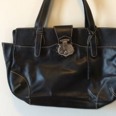 Black leather Talbots valise Beautiful black leather with minor scratches.  Great closure.  2/10/5 Talbots Bags Shoulder Bags