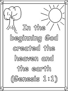 genesis 1 verse 1 coloring page - Creation Coloring Pages