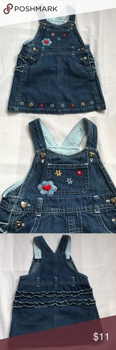 Flower embroidered denim overalls dress. Floral embroidered denim dress overalls with ruffled bottom. Excellent used condition! No holes or stains. Dresses Casual