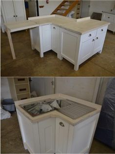 Cleverly designed Corner Unit for a small kitchen with space on the left for a washing machine. The corner sink fits into the Corner Unit. Swedish Style. On legs. Ice White. Milestone kitchens. Free standing kitchen units.