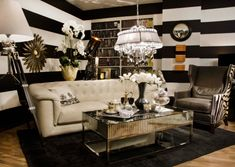 black white gold living room
