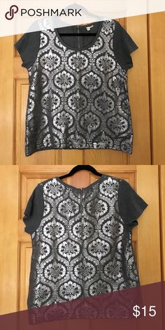 Anthropologie brand Moth!  Super cute top! Sweater knit fabric with foil print!  Super cute easy shape! Anthropologie Sweaters Crew & Scoop Necks
