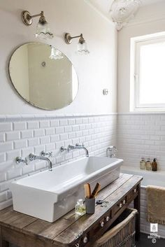 No Room For A Double Sink Vanity Try A Trough Style Sink With Two - Trough style bathroom sinks