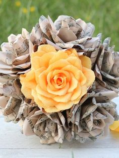 Items similar to Book Page Flowers Blossom Roses on Etsy Wedding Costs, Budget Wedding, Plan Your Wedding, Bridesmaid Bouquet, Wedding Bouquets, Book Page Flowers, Paper Flowers Wedding, Book Pages, Flower Making