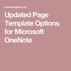 Updated Page Template Options for Microsoft OneNote