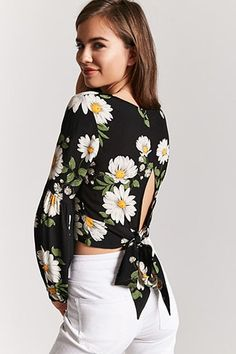 Product Name:Floral Tie-Back Top, Category:top_blouses, Whimsical Fashion, Floral Fashion, Fashion Design, Stylish Summer Outfits, Chic Outfits, Blouse Styles, Blouse Designs, Hijab Fashion, Fashion Outfits