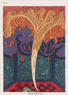 Image de la page 64 du Livre Rouge de Carl Gustav Jung (Liber Novus) Sigmund Freud, C G Jung, Tarot, Gustav Jung, Meditation, Psy Art, Red Books, The Secret Book, Book Images
