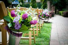 Pew floral arrangements I designed for our wedding.