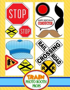 TRAIN Birthday Party - Train Photo Booth Props - Train Party - Train Props - Boy Birthday- Train Party Printables - INSTANT Download
