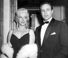 Marilyn Monroe and Marlon Brando at the premiere of The Rose Tattoo, December 12, 1955.