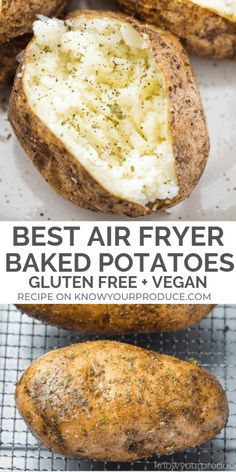 Air Fryer Baked Potatoes with a crispy crust, nice and fluffy inside, and seasoned to perfection! This is the best baked potato you'll ever make or eat! Best Baked Potato, Air Fryer Baked Potato, Baked Potato Recipes, Vegan Baked Potato, Air Fryer Dinner Recipes, Air Fryer Oven Recipes, Toaster Oven Recipes, Air Fryer Recipes Potatoes, Toaster Oven Baked Potato