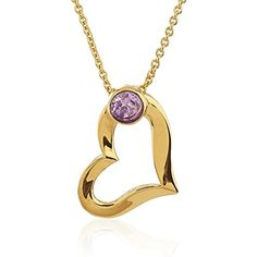 GoldPlated Brass Heart with Purple Synthetic Amethyst Gemstone Pendant Necklace 17520 inches >>> Continue reading at the image link.