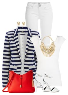 """""""Blazer, heels and jeans"""" by ginga1203 ❤ liked on Polyvore featuring Paige Denim, Oasis, BCBGMAXAZRIA, Cara, Giuseppe Zanotti, Vince Camuto and Tiffany & Co."""