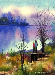 Still Lake, watercolor by Kim Attwooll