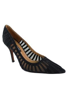"""KAEDEN - Black from REMAC.  Fresh perspective on a modern classic dress pump worn for anything day to night. Cage-like striped construction in rich linen like foiled leather with mesh underlay. Simple elegance in this perfect pump. The Kay Unger Collection's signature cuoio leather lining memory foam padded insole and natural stained leather outsole add comfort and luxury. Material:  Nubuck leather/Mesh    Heel Height:  3.25"""" Lining Material:  Leather Sole Type:  Leather"""