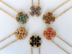 Pendant Necklace - 6 Colors to Choose, Beadweaving handmade Gold Pendant Necklace OOAK Beadwork Necklace Jewelry Handmade, Gift Ideas