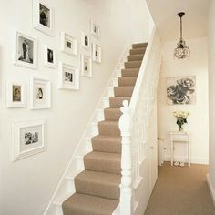 Decorating Ideas for Stairs and Hallways . 24 Lovely Decorating Ideas for Stairs and Hallways . White Walls and Picture Frames In Hallway House Design, Hallway Decorating, House, Home, House Styles, House Inspiration, New Homes, White Walls, White Staircase