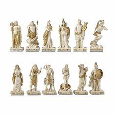 Greek Pantheon The Twelve Olympians Myth & Legend. Sculpture – XoticBrands Home Decor Athena Goddess, Aphrodite, Greek Mythology Art, Hercules Mythology, Apollo And Artemis, Greek Pantheon, Son Of Zeus, Roman Gods, Greek Gods And Goddesses
