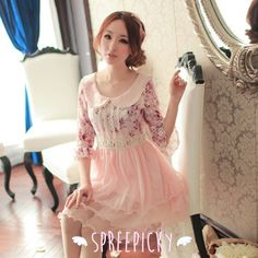 """Free Shipping Worldwide    Material: Lace    Color: Pink    Size: S/M/L    S: Length:80cm/31.44""""  Bust:80cm/31.44""""  Waist:66cm/25.94""""  Shoulder:36cm/14.15""""  Sleeve Length:38cm/14.93""""  Sleeve Width:28cm/11.00""""     M: Length:82cm/32.23""""  Bust:84cm/33.01""""  Waist:70cm/27.51""""  Shoulder:37cm/14.54""""  Sl..."""