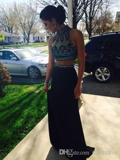Long Two Piece Designer Prom Dress 2015 Elegant High Neck Sleeveless Open Back Floor Length Crystal Beaded Top Black Jersey Evening Gowns Más Prom Dresses 2015, Black Prom Dresses, Pretty Dresses, Beautiful Dresses, Formal Dresses, Dress Prom, Ball Dresses, Dress Black, Chiffon Dresses
