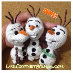 Olaf of Frozen amigurumi pattern, the middle one is a bit creepy, but the others NEED some white in their eye, THEY are FREAKY.