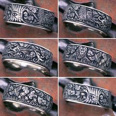 This is a wide platinum wedding band, totally customised with bespoke hand engraving. by LONDON ENGRAVER Stone Jewelry, Silver Jewelry, Custom Signet Ring, Jewelry Gifts, Diy Jewelry, Jewlery, Engraved Rings, Hand Engraving, Beautiful Rings
