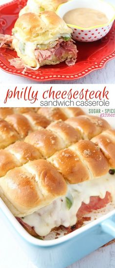 An easy weeknight supper, this Philly cheesesteak sandwich casserole has melted cheese, sauteed veggies and a cheater au jus sauce - and takes less than 10 minutes to throw together. It's also perfect for a potluck recipe or BBQ appetizer