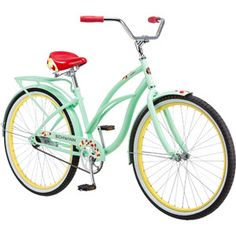 """26"""" Schwinn Delmar Women's Cruiser Bike, Mint/Yellow - I want this bike.  No gears, just a cute sturdy bike that I can get some exercise with."""