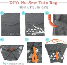 DIY: No-Sew Tote Bag From A Pillowcase (I think I have a few mismatched pillow cases. I'd be willing to give one up to try this. Cool idea.) #NoSew #Crafts #Upcycle