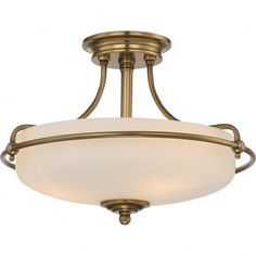 Period style semi flush ceiling light in weathered brass with opal diffuser. Great for classic style rooms with low ceilings.