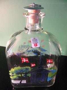 Holm Gaard Decanter Silver Top Pull Cork Stopper Denmark Castle