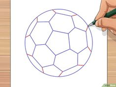 How to Draw a Soccer Ball. Soccer balls are fun to play with but can be unfamiliar to draw. The traditional soccer ball is made from two flat shapes, pentagons and hexagons. A pentagon, of course, is a five-sided polygon, while a hexagon. Ball Drawing, Paper Drawing, Line Drawing, Soccer Party, Soccer Ball, Drawing Utensils, Flat Shapes, Diy Clock, Easy Drawings