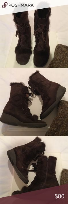Adorable fur trimmed brown suede boots Rubber sole/Side zip/So comfortable. NOT fur lined. Either brown suede or nubuck outer with (faux?) fur detail. Some wear visible but still look great! Via Spiga Shoes Winter & Rain Boots